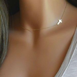 Jewelry - Petite Side Style Cross Choker Gold Necklace